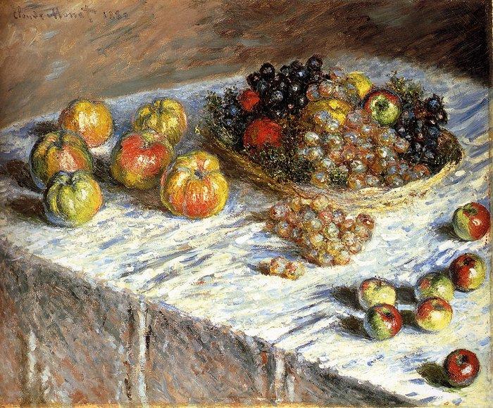 """art0136 """"Натюрморт - яблоки и виноград"""", Клод Моне, 1879 г."""