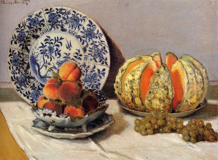 """art0137 """"Натюрморт с дыней"""", Клод Моне, 1872 г."""
