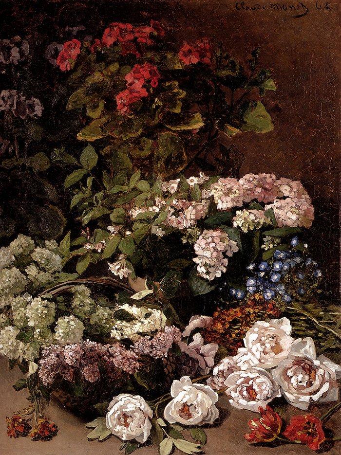 """art0330 """"Весенние цветы"""", Клод Моне, 1864 г."""